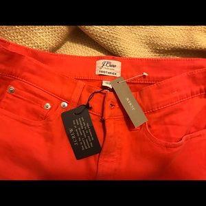 NWT J Crew Orange Toothpick Pants Size;27
